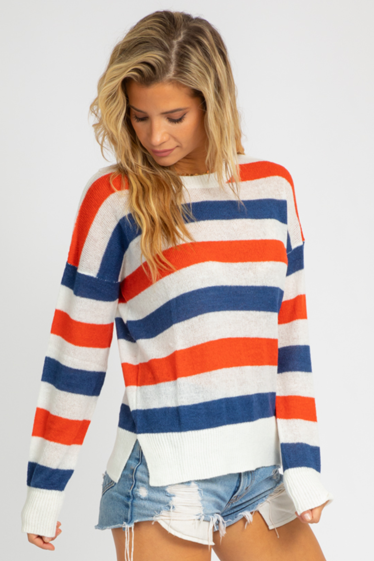RED + NAVY STRIPED KNIT