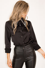 BLACK CRYSTAL COLLAR TOP