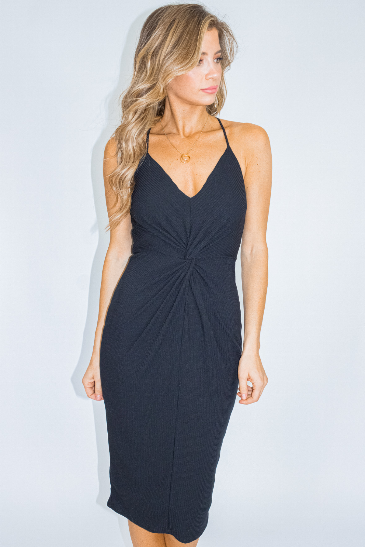 RIBBED TWIST FRONT DRESS