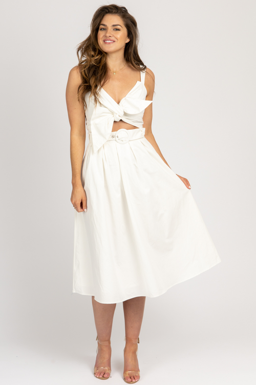WHITE RIBBON CROP + FLARED SKIRT SET