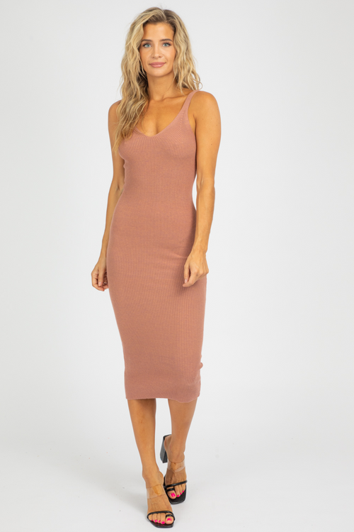 ROSE SCOOP NECK KNIT MIDI