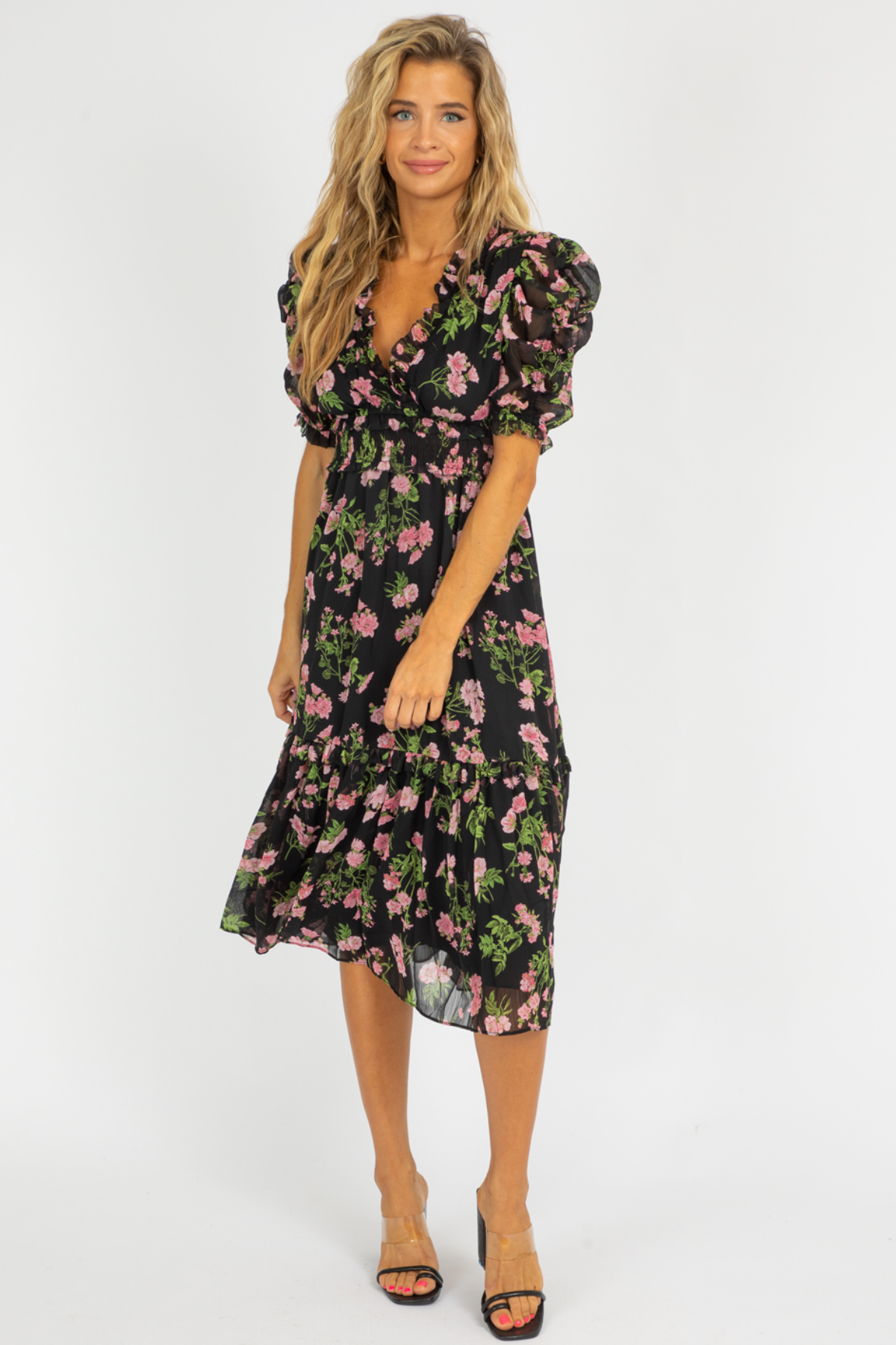 RUFFLED ROSE FLORAL MIDI