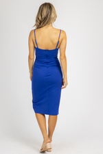ROYAL BLUE OPEN BUTTON FRONT MIDI DRESS *RESTOCK COMING SOON*