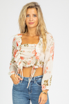 FLORAL RUFFLE RUCHED CROP