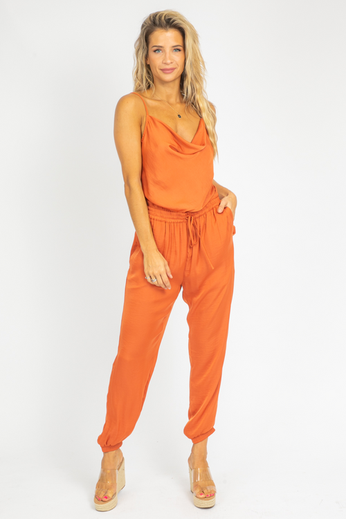 BURNT ORANGE COWL NECK JUMPSUIT