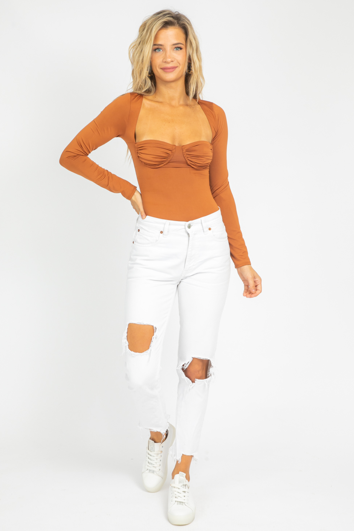 BROWN UNDERWIRE LONGSLEEVE BODYSUIT