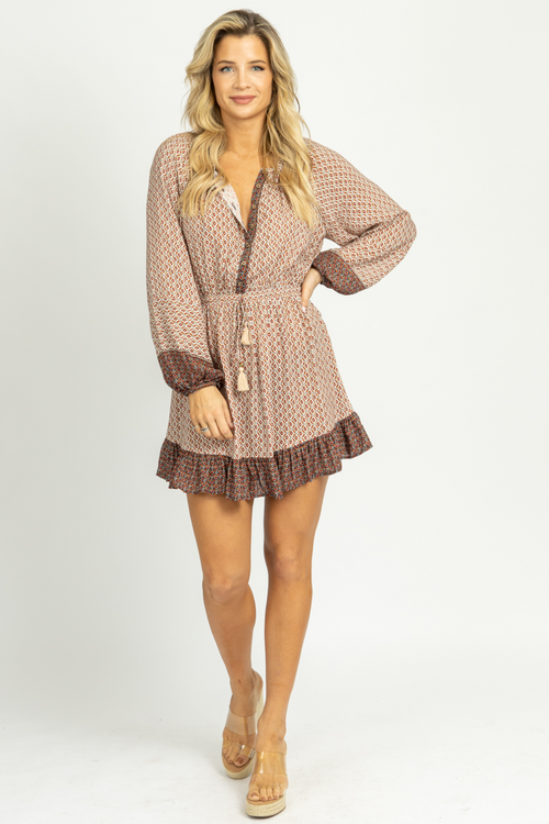 RUST TASSEL TIPPED DRAWSTRING MINI DRESS