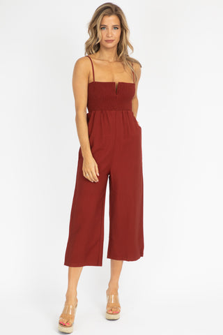 ORANGE HALTER SIDE SLIT JUMPSUIT
