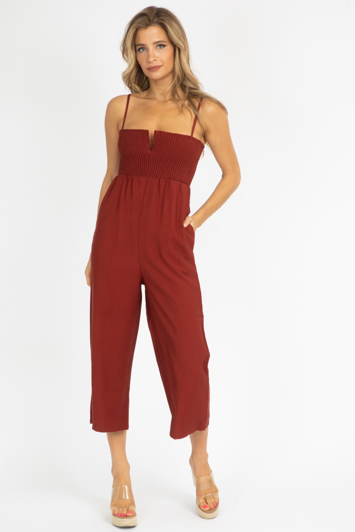 RUST RUCHED TOP JUMPSUIT