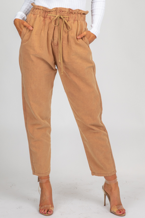 RUST PAPERBAG DRAWSTRING PANTS