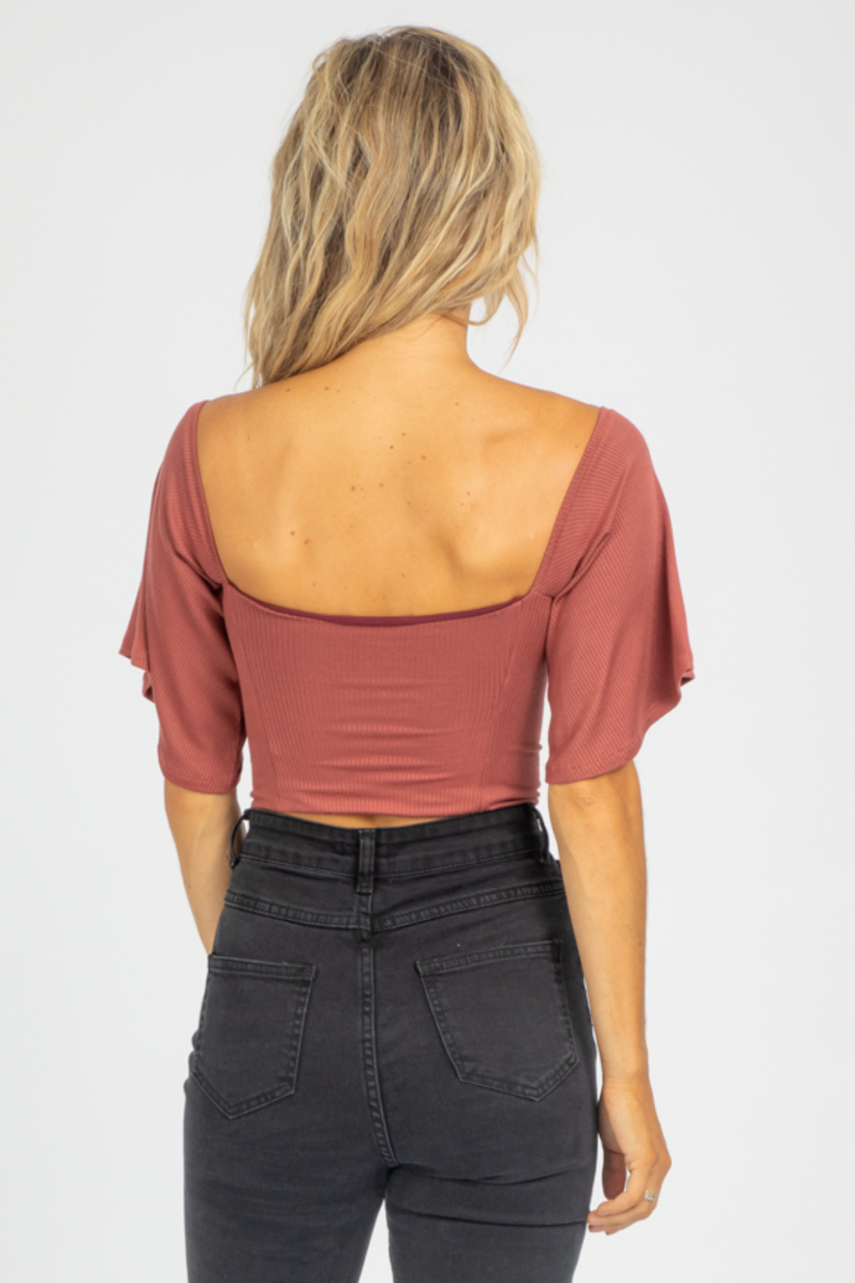 RUST RIBBED SWEETHEART CROP