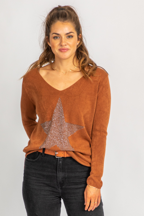 COGNAC STAR ELBOW SHIMMER KNIT