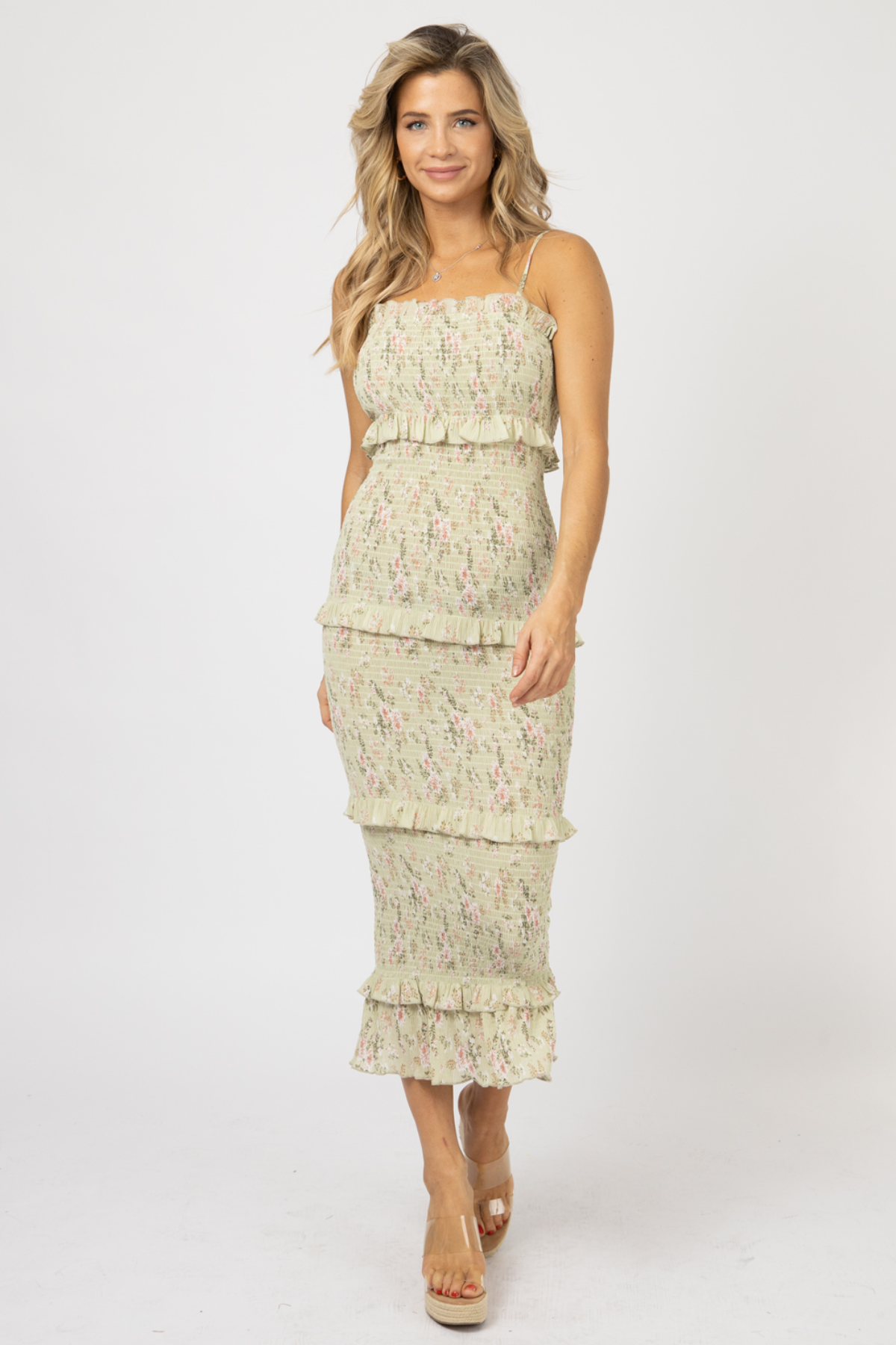 SAGE FLORAL STRAIGHT-NECK SMOCKED MIDI