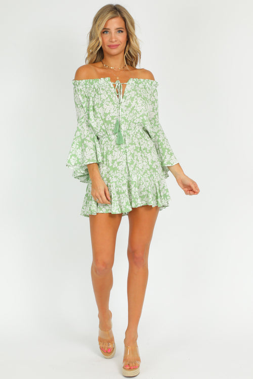 SAGE OFF SHOULDER ROMPER