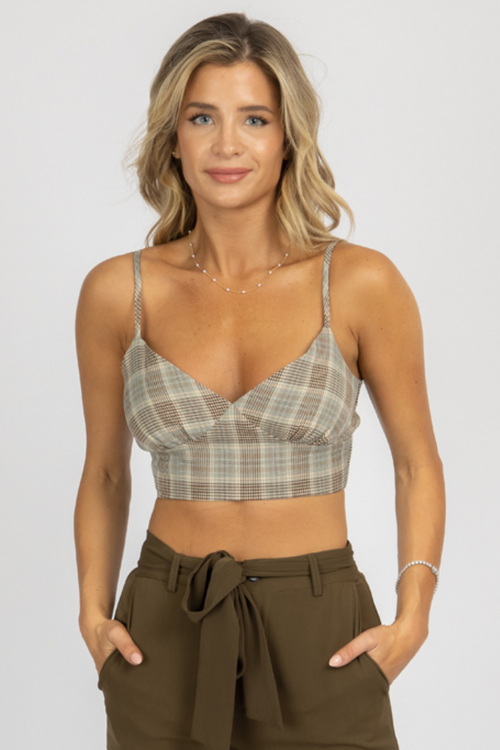 SAGE PLAID CROPPED TOP