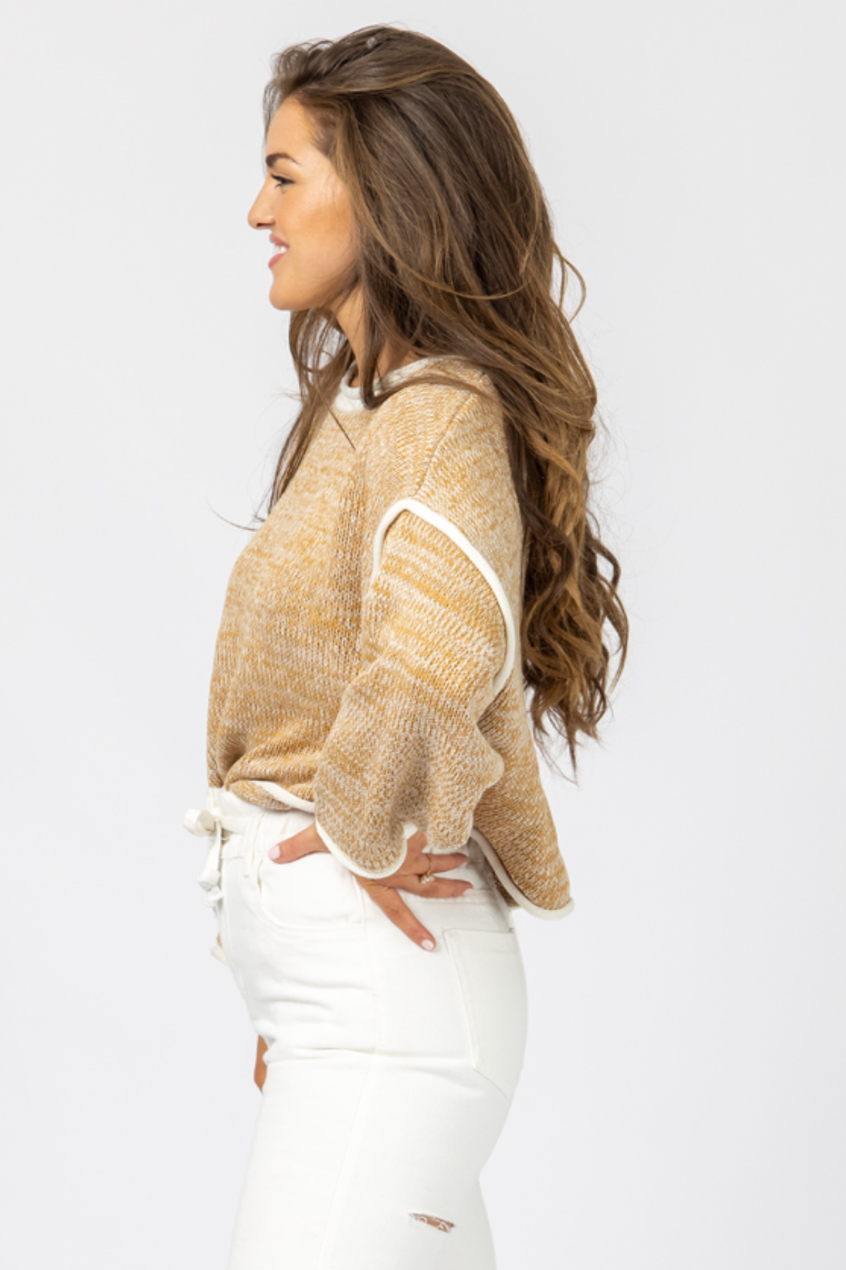 SAND CONTRAST STITCH SWEATER