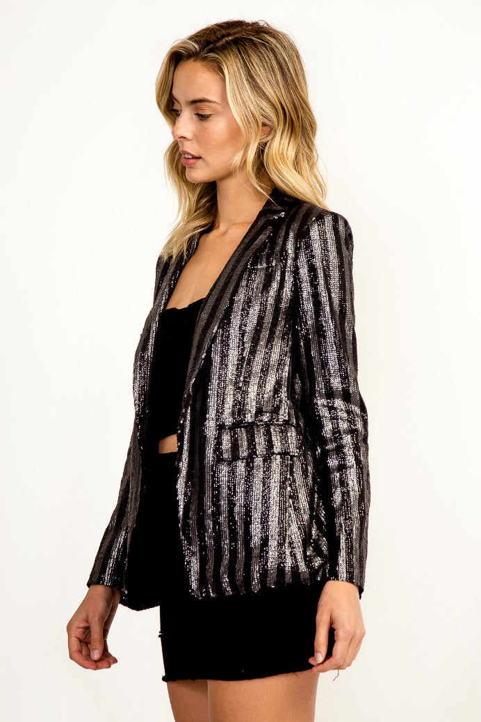 SEQUIN STRIPE BLAZER