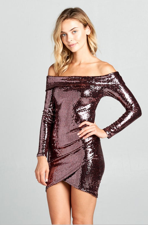 LEVEE LONG SLEEVE SEQUIN DRESS