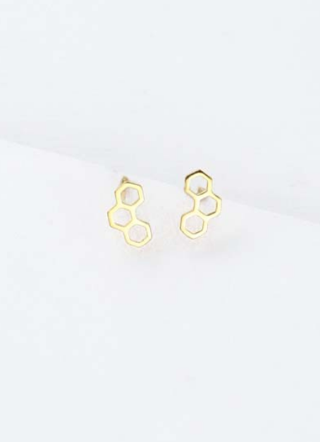 HONEYCOMB EARRING IN GOLD