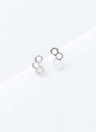 HONEYCOMB EARRING IN SILVER