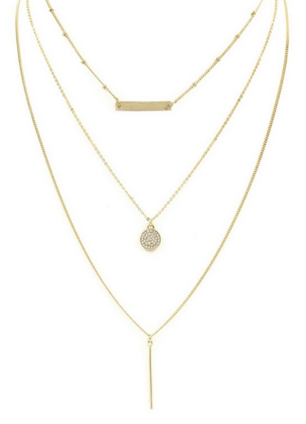 TRIPLE PAVE NECKLACE IN GOLD