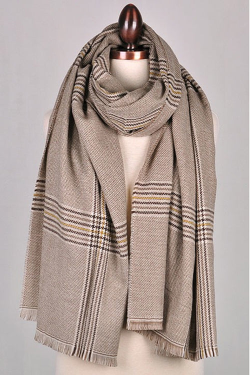 TAUPE PLAID SOFT SCARF