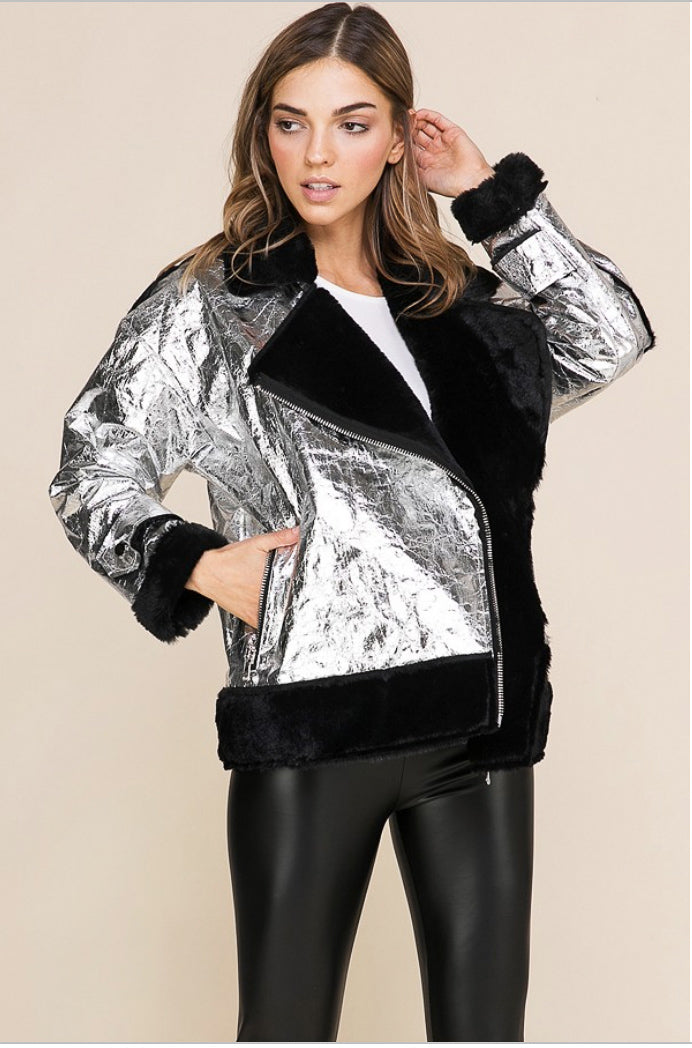 METALLIC FUR LINED MOTO JACKET