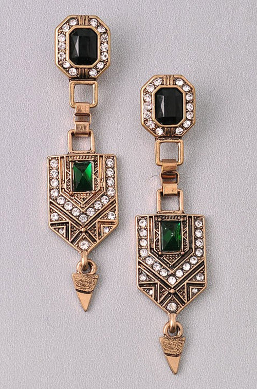 ANTIQUED EMERALD EARRINGS