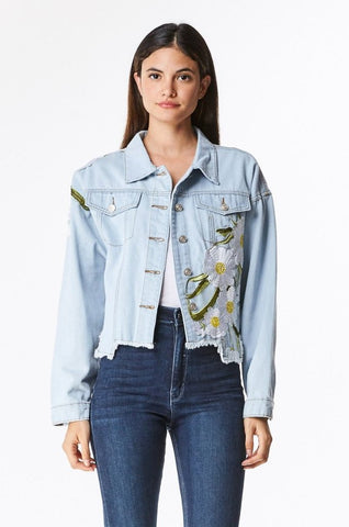 FRONT PATCHWORK DISTRESSED DENIM JACKET