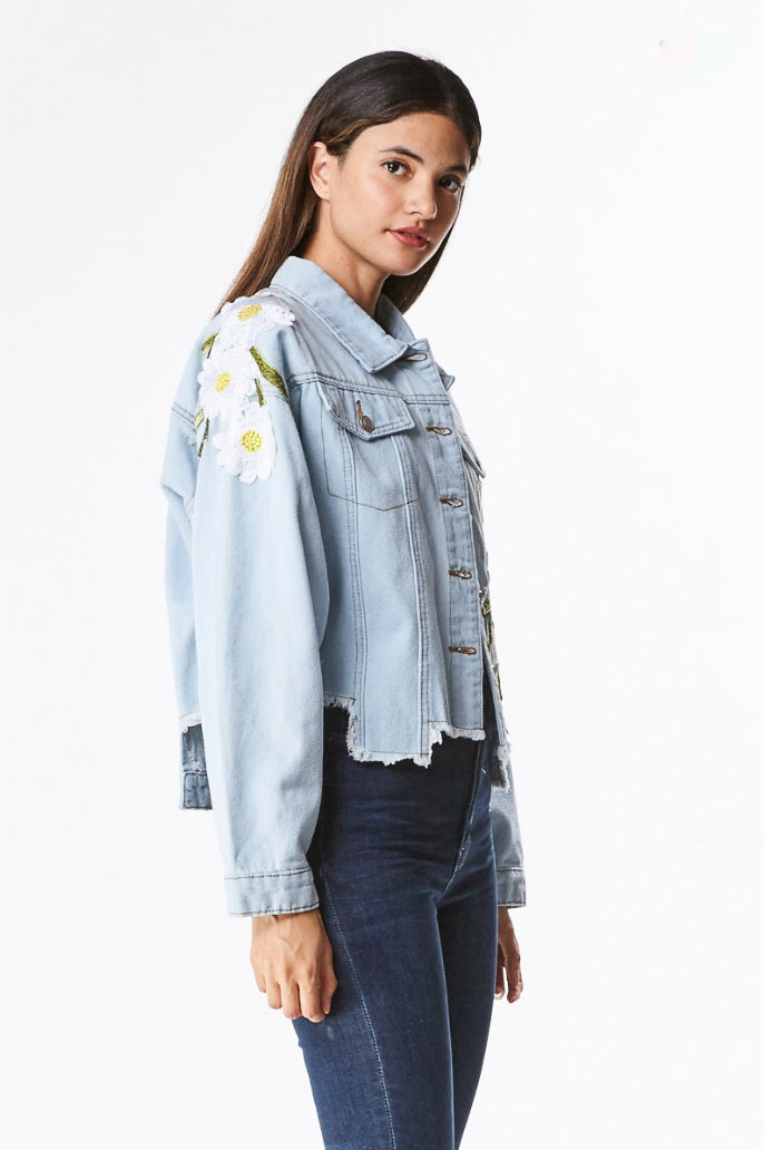 DENIM DAISY PATCH JACKET / FINAL CLEARANCE
