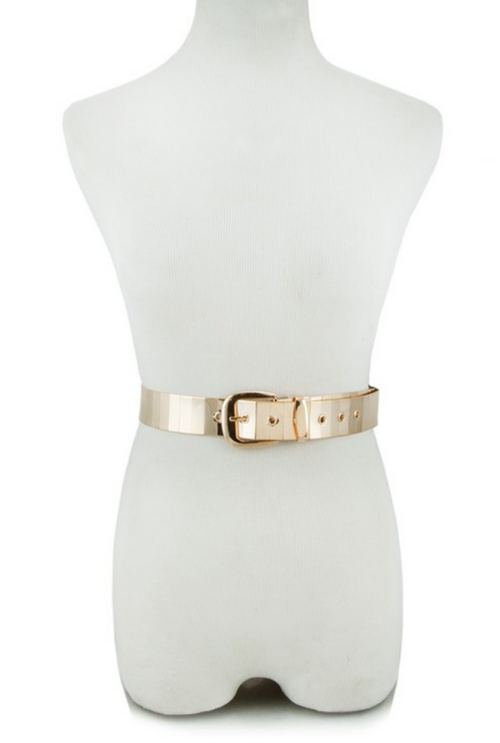 MIRRORED GOLD METAL BELT