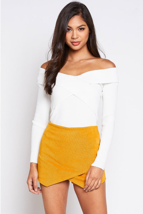 COLD SHOULDER KNIT TOP IN OFF WHITE