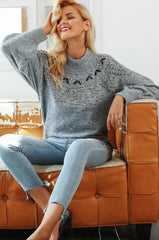 GREY BEADED SWEATER / FINAL CLEARANCE