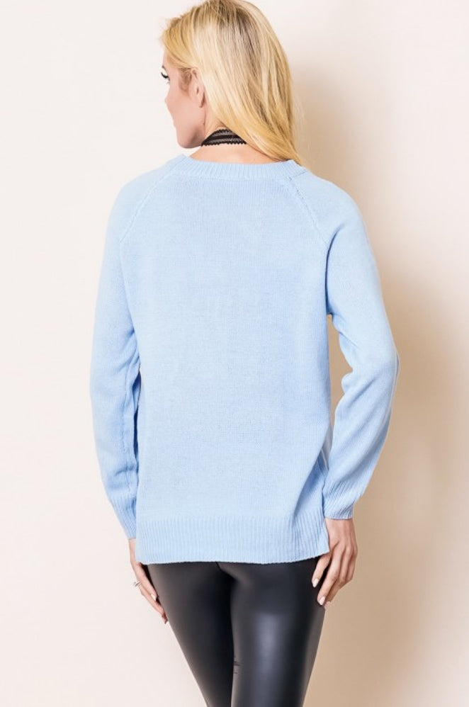 HEART YOU SWEATER IN BLUE AND CREAM