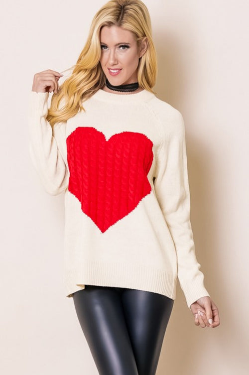 HEART YOU SWEATER IN RED AND CREAM