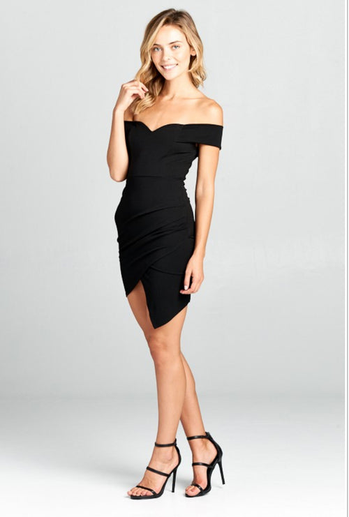 OFF SHOULDER ASYMMETRICAL LBD