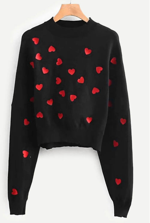 EMBROIDERED HEART CROPPED SWEATER