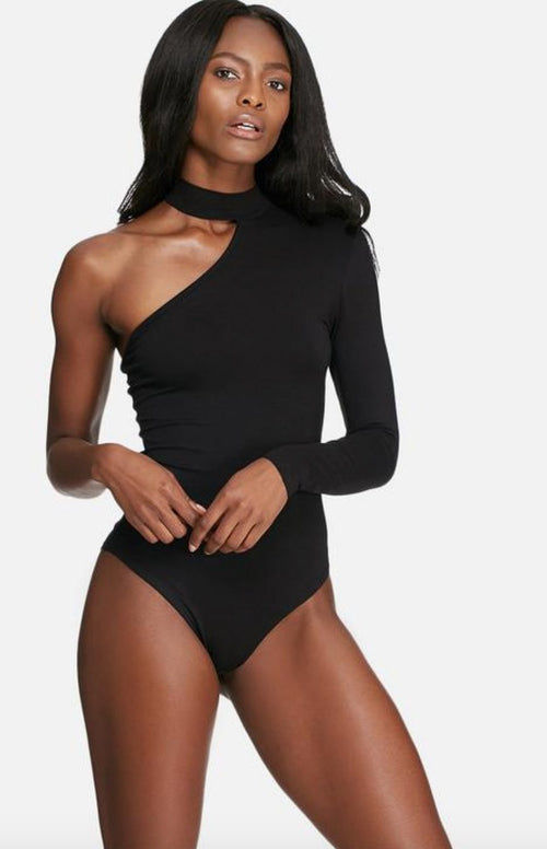ONE SLEEVED CHOKER BODYSUIT IN BLACK
