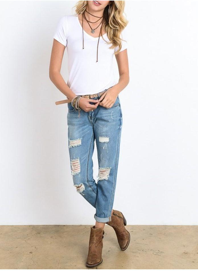 DISTRESSED BAMBOO BOYFRIEND JEANS
