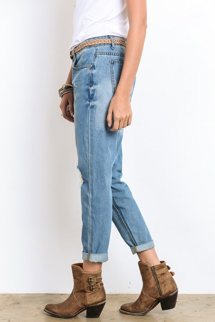DISTRESSED BAMBOO BOYFRIEND JEANS / FINAL CLEARANCE