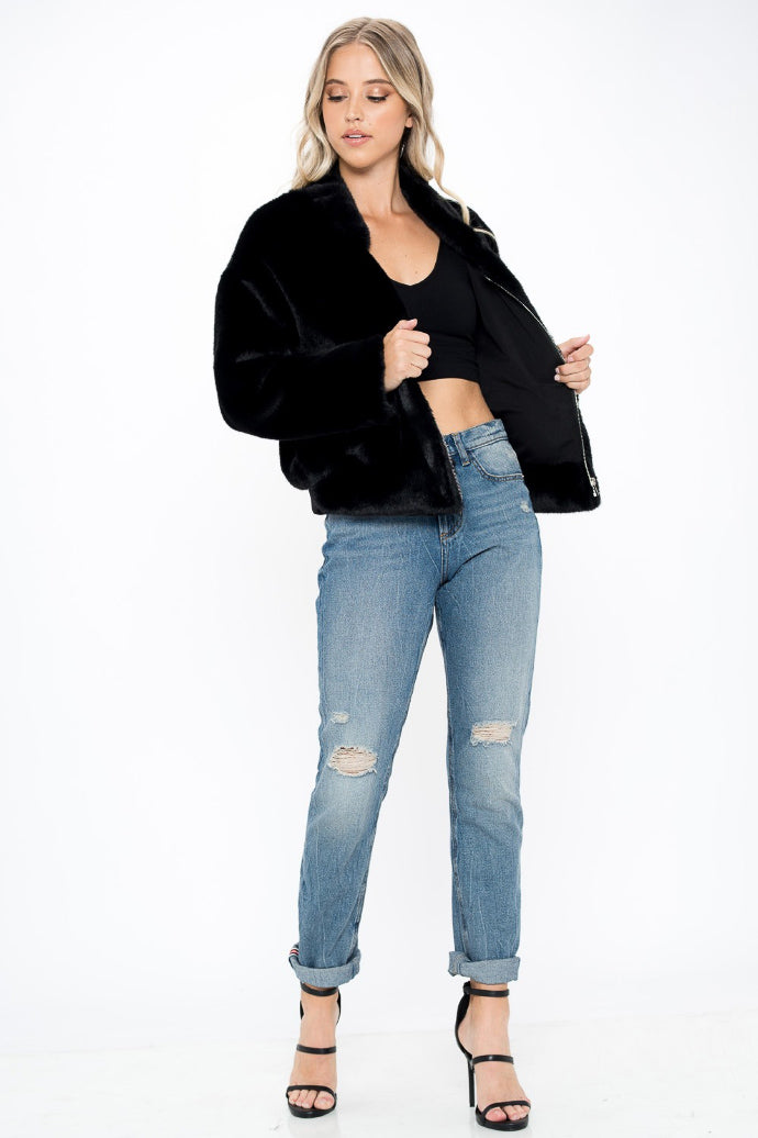 ZIPPERED FAUX FUR JACKET