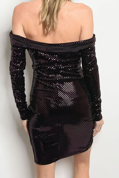 LONG SLEEVE VELVET SHINE DRESS