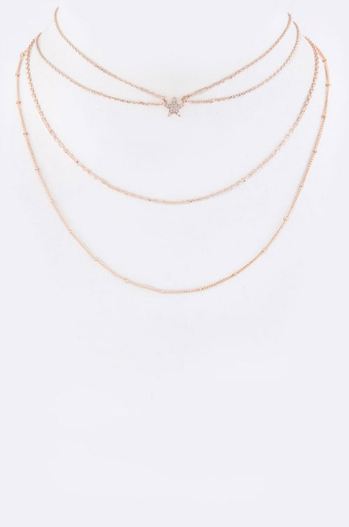 ROSE GOLD STAR LAYER CHOKER NECKLACE
