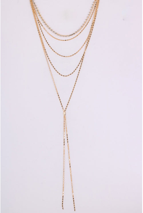 DOUBLE LARIAT DROP NECKLACE IN GOLD