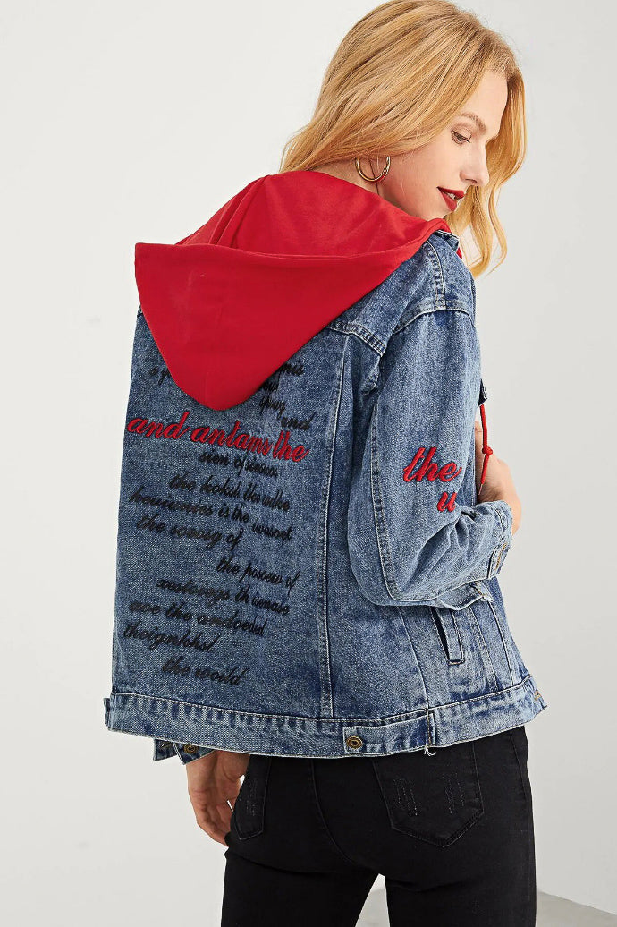 HOODED EMBROIDERED JACKET