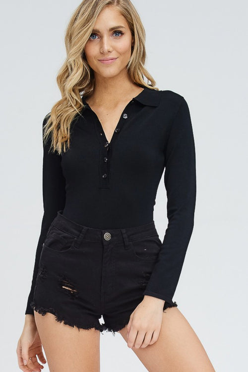 BUTTON DOWN SWEATER BODYSUIT
