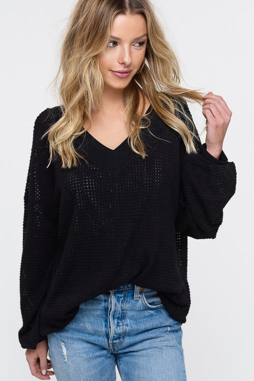 WAFFLED KNITTED TOP IN BLACK