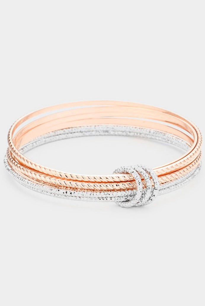 TEXTURED BANGLES IN ROSE GOLD AND SILVER
