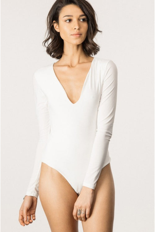 LONG SLEEVE KATE BODYSUIT IN IVORY