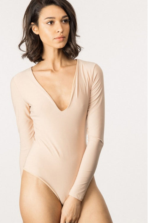 LONG SLEEVE KATE BODYSUIT IN NUDE